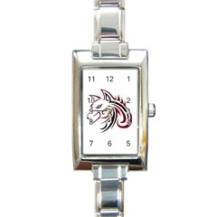 Maroon And Black Wolf Head Outline Facing Left Side Rectangular Italian Charm Watch by WildThings