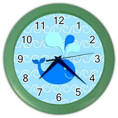 Playing In The Waves Wall Clock (color) by StuffOrSomething