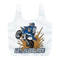 Eat Sleep Ride Motocross Full Print Recycle Bag (l) by MegaSportsFan