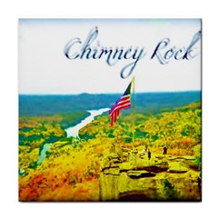 Chimney Rock Overlook Air Brushed Ceramic Tile by Majesticmountain