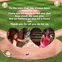 Baseball Fathers Day Card By Kim Blair   Twin Heart Bottom 3d Greeting Card (8x4)   La2lydcvkth5   Www Artscow Com Inside
