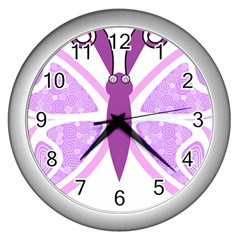 Whimsical Awareness Butterfly Wall Clock (silver) by FunWithFibro