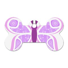 Whimsical Awareness Butterfly Dog Tag Bone (two Sided) by FunWithFibro