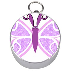 Whimsical Awareness Butterfly Silver Compass by FunWithFibro