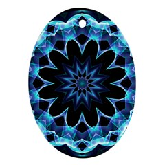 Crystal Star, Abstract Glowing Blue Mandala Oval Ornament by DianeClancy