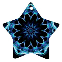 Crystal Star, Abstract Glowing Blue Mandala Star Ornament by DianeClancy
