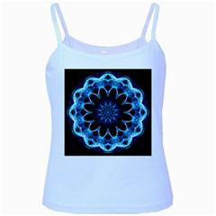 Crystal Star, Abstract Glowing Blue Mandala Baby Blue Spaghetti Tank by DianeClancy