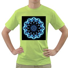 Crystal Star, Abstract Glowing Blue Mandala Men s T Shirt (green) by DianeClancy