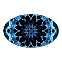 Crystal Star, Abstract Glowing Blue Mandala Magnet (oval) by DianeClancy
