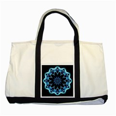 Crystal Star, Abstract Glowing Blue Mandala Two Toned Tote Bag by DianeClancy
