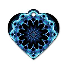 Crystal Star, Abstract Glowing Blue Mandala Dog Tag Heart (one Sided)  by DianeClancy