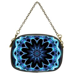Crystal Star, Abstract Glowing Blue Mandala Chain Purse (two Sided)  by DianeClancy
