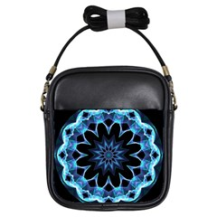 Crystal Star, Abstract Glowing Blue Mandala Girl s Sling Bag by DianeClancy