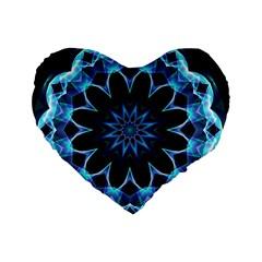 Crystal Star, Abstract Glowing Blue Mandala 16  Premium Heart Shape Cushion  by DianeClancy