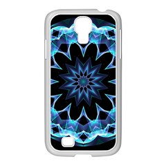 Crystal Star, Abstract Glowing Blue Mandala Samsung Galaxy S4 I9500/ I9505 Case (white) by DianeClancy