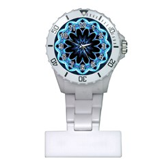 Crystal Star, Abstract Glowing Blue Mandala Nurses Watch by DianeClancy