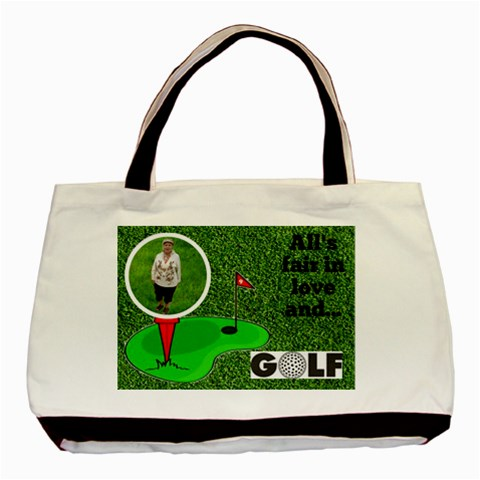 Lady Golfer s Black Tote Bag By Joy Johns   Basic Tote Bag   Bsr5me3h5jyq   Www Artscow Com Front