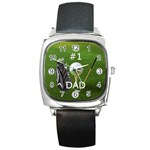 #1 Dad Golf Square Metal Watch