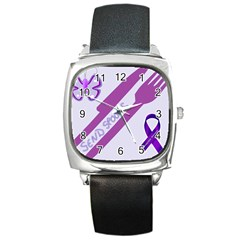 Send Spoons Square Leather Watch by FunWithFibro