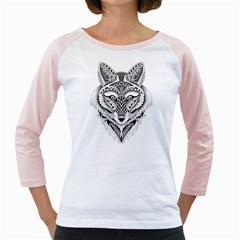 Ornate Foxy Wolf Women s Long Cap Sleeve T-Shirt (White)  by Zandiepants