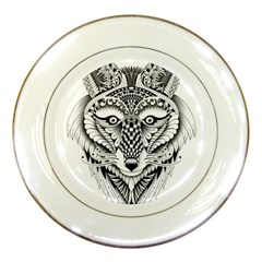 Ornate Foxy Wolf Porcelain Display Plate by Zandiepants