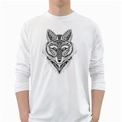 Ornate Foxy Wolf Men s Long Sleeve T-shirt (White) by Zandiepants