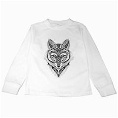 Ornate Foxy Wolf Kids Long Sleeve T-Shirt by Zandiepants