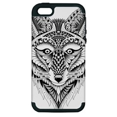 Ornate Foxy Wolf Apple iPhone 5 Hardshell Case (PC+Silicone) by Zandiepants
