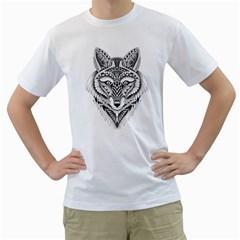 Ornate Foxy Wolf Men s T-Shirt (White)  by Zandiepants