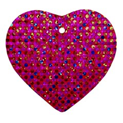 Polka Dot Sparkley Jewels 1 Heart Ornament (two Sides) by MedusArt