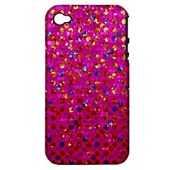 Polka Dot Sparkley Jewels 1 Apple Iphone 4/4s Hardshell Case (pc+silicone) by MedusArt