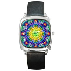 Psychedelic Abstract Square Leather Watch by Colorfulplayground