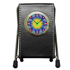 Psychedelic Abstract Stationery Holder Clock by Colorfulplayground