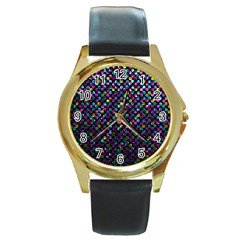 Polka Dot Sparkley Jewels 2 Round Leather Watch (Gold Rim)  by MedusArt