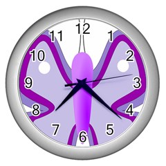 Cute Awareness Butterfly Wall Clock (silver) by FunWithFibro