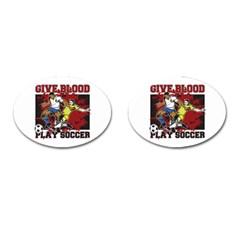 Give Blood Play Soccer Cufflinks (oval) by MegaSportsFan