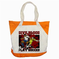 Give Blood Play Soccer Accent Tote Bag by MegaSportsFan