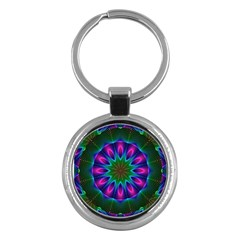 Star Of Leaves, Abstract Magenta Green Forest Key Chain (round) by DianeClancy