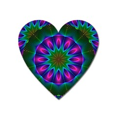 Star Of Leaves, Abstract Magenta Green Forest Magnet (heart) by DianeClancy