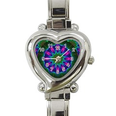Star Of Leaves, Abstract Magenta Green Forest Heart Italian Charm Watch  by DianeClancy