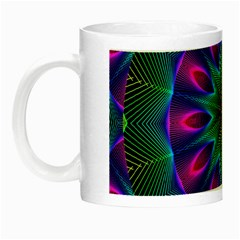 Star Of Leaves, Abstract Magenta Green Forest Glow In The Dark Mug by DianeClancy