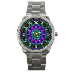 Star Of Leaves, Abstract Magenta Green Forest Sport Metal Watch by DianeClancy