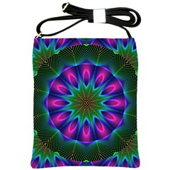 Star Of Leaves, Abstract Magenta Green Forest Shoulder Sling Bag by DianeClancy