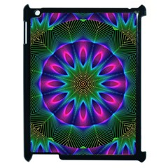 Star Of Leaves, Abstract Magenta Green Forest Apple Ipad 2 Case (black) by DianeClancy