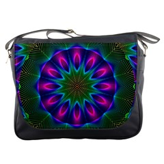 Star Of Leaves, Abstract Magenta Green Forest Messenger Bag by DianeClancy