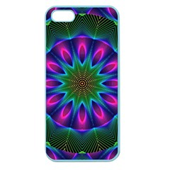 Star Of Leaves, Abstract Magenta Green Forest Apple Seamless Iphone 5 Case (color) by DianeClancy