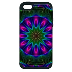 Star Of Leaves, Abstract Magenta Green Forest Apple Iphone 5 Hardshell Case (pc+silicone) by DianeClancy