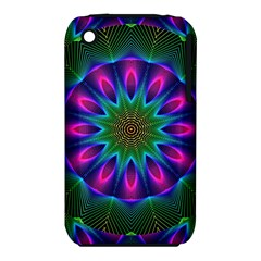 Star Of Leaves, Abstract Magenta Green Forest Apple Iphone 3g/3gs Hardshell Case (pc+silicone) by DianeClancy