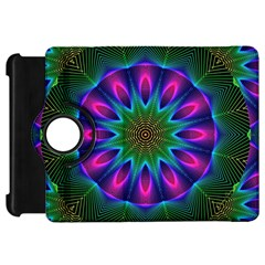 Star Of Leaves, Abstract Magenta Green Forest Kindle Fire Hd 7  (1st Gen) Flip 360 Case by DianeClancy