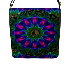 Star Of Leaves, Abstract Magenta Green Forest Flap Closure Messenger Bag (large) by DianeClancy